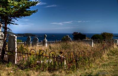Graveyard over looking the ocean on HWY 10
