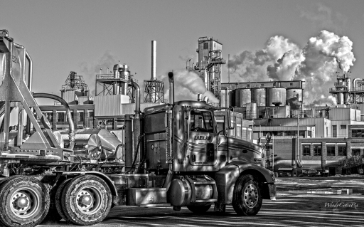 WrongPlace B&W ~ Truck entering factory, time to leave